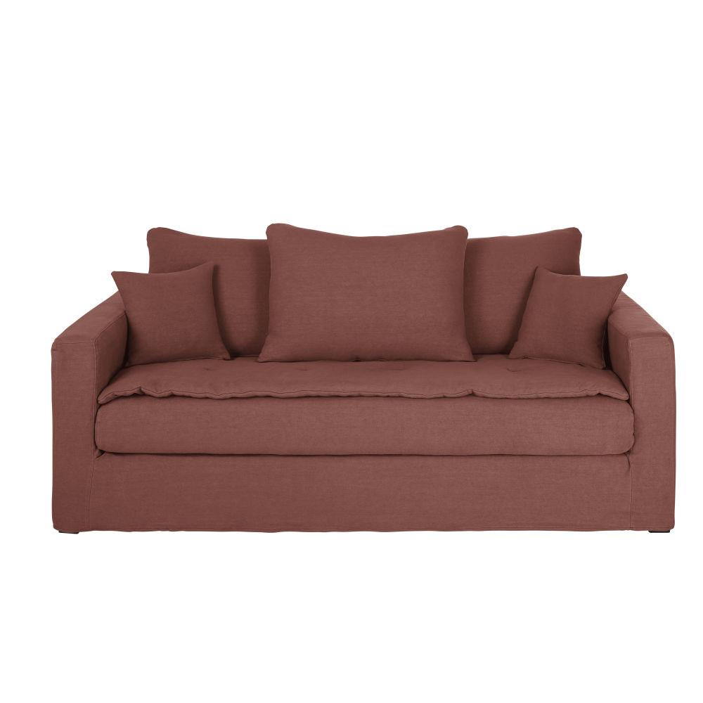 3/4-Sitzer-Sofa mit dickem rhabarberrotem Leinenbezug Celestin