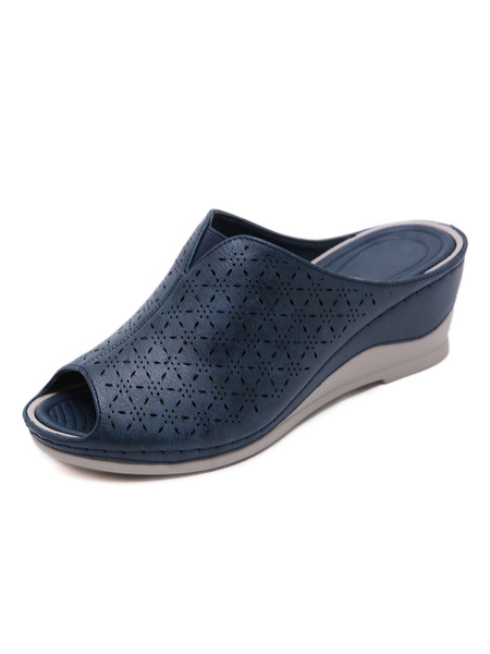 Milanoo Wedge Sandals For Women Gorgeous Embossed PU Leather