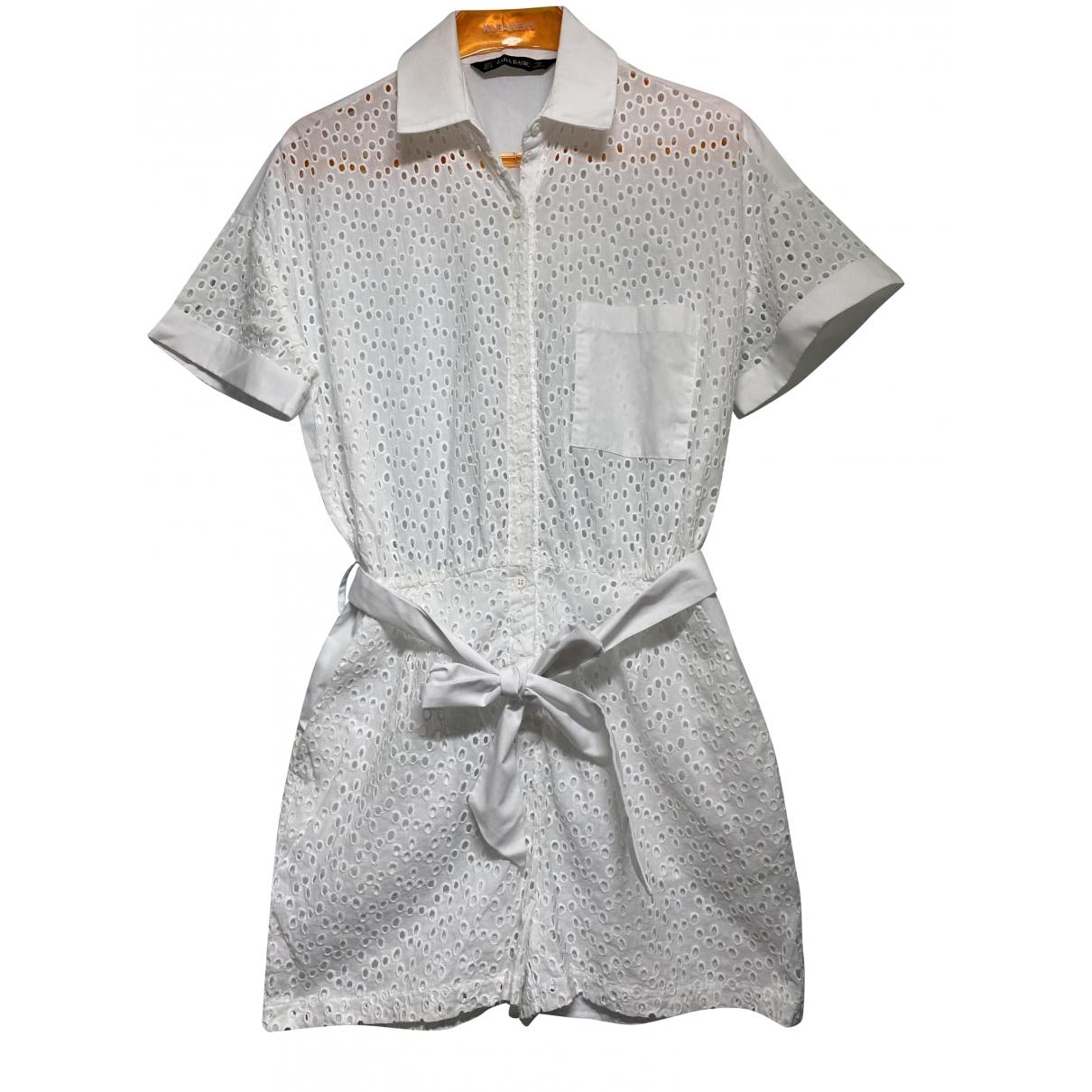 Zara \N Jumpsuit in  Weiss Baumwolle