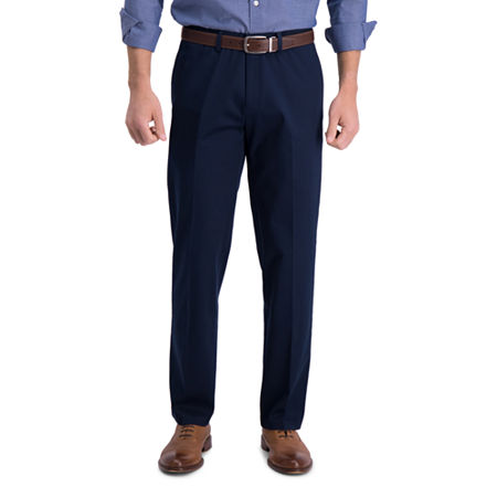 Haggar  Iron Free Premium Khaki Straight Fit Flat Front Pants, 40 30, Blue
