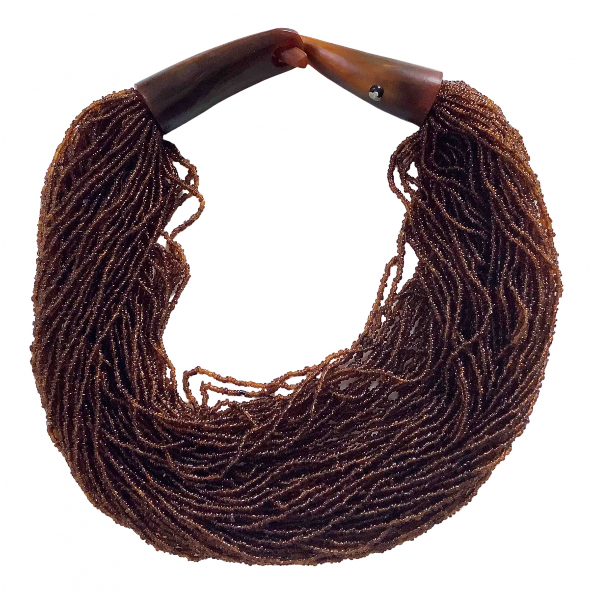 - Collier   pour femme en perles - marron