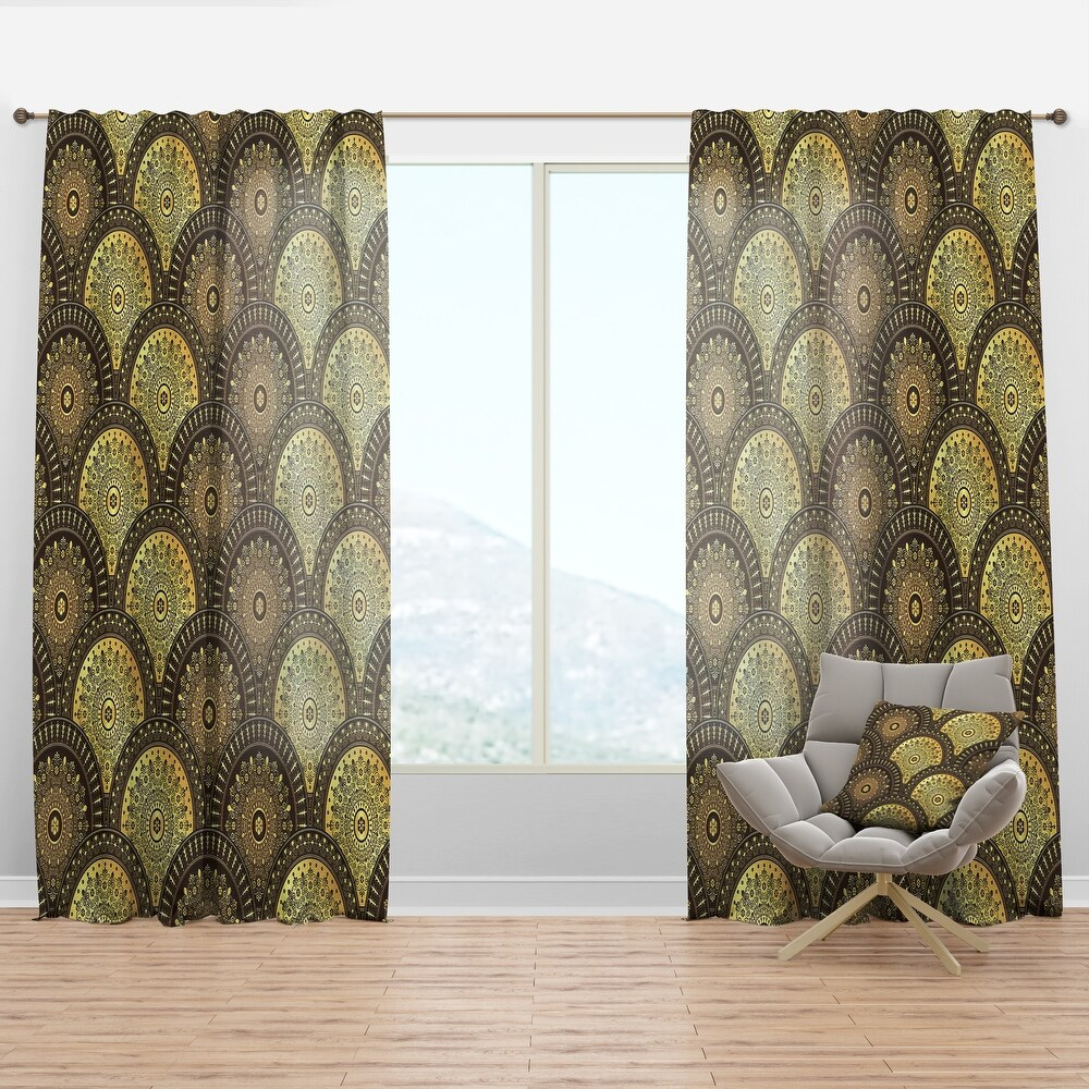 Designart 'Golden Circular Pattern I' Mid-Century Modern Curtain Panel (50 in. wide x 90 in. high - 1 Panel)