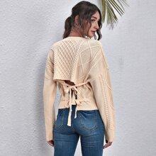 Pullover Kleid mit Band hinten und sehr tief angesetzter Schulterpartie