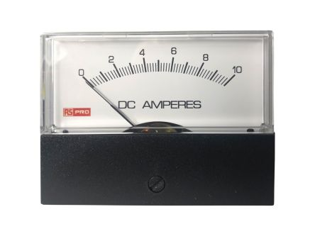 RS PRO Analogue Panel Ammeter 10 (Input)A DC, 76mm x 74mm, ±1.5 % Moving Coil