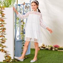 Girls Frill Mock Neck Lace Yoke Lantern Sleeve Layered Babydoll Mesh Dress