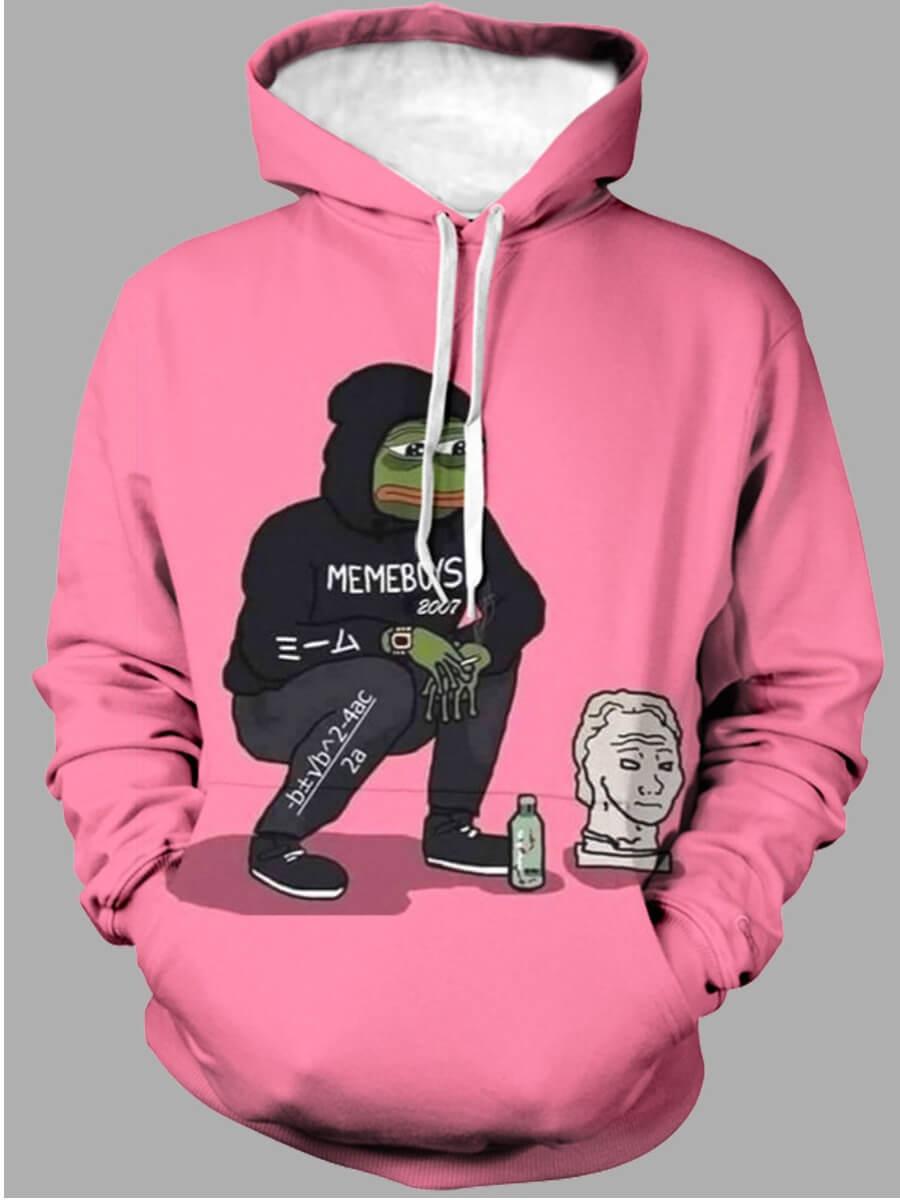 LW Lovely Leisure Hooded Collar Print Pink Men Hoodie