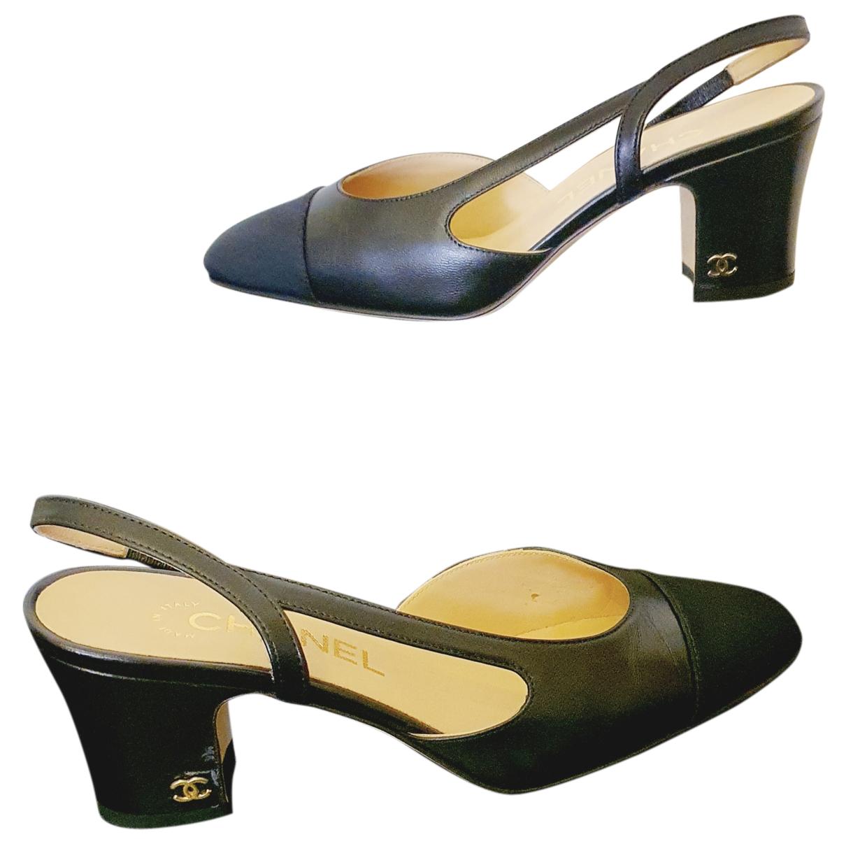Chanel - Escarpins Slingback pour femme en cuir - noir