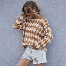 Pullover mit sehr tief angesetzter Schulterpartie und Argyle Muster