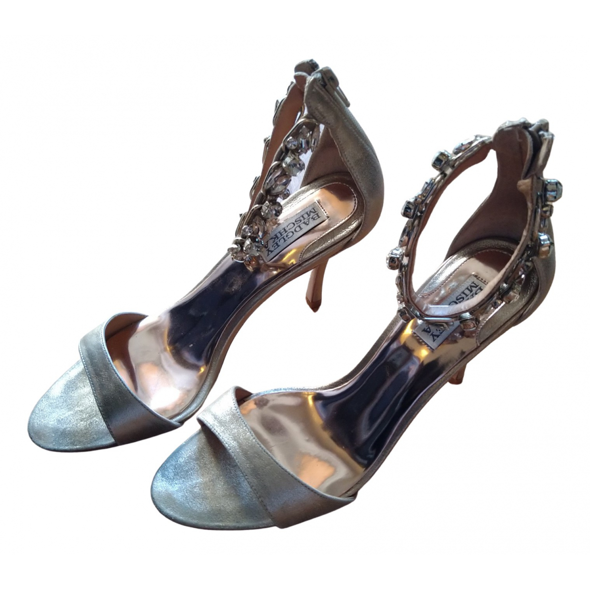 Badgley Mischka \N Gold Leather Sandals for Women 8.5 US