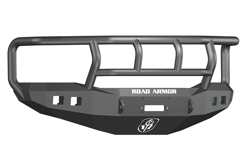 DODGE Front Winch Bumper Square Light Ports 1500 RAM 06-08 BLACK Titan II Guard Road Armor 407R2B Stealth Series