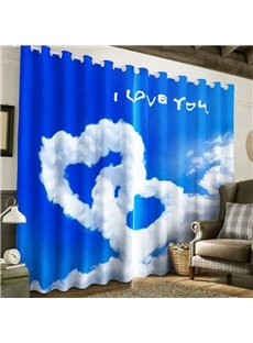 Simple White Clouds Hearts with Blue Sky 2 Panels Living Room and Bedroom Curtain