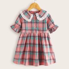 Toddler Girls Doll Collar Contrast Lace Trim Plaid Dress