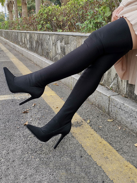 Milanoo Thigh High Boots Womens Black Elastic Fabric Pointed Toe Stiletto Heel Over The Knee Boots