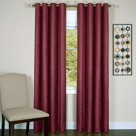Taylor Blackout Grommet-Top Single Curtain Panel, One Size , Red