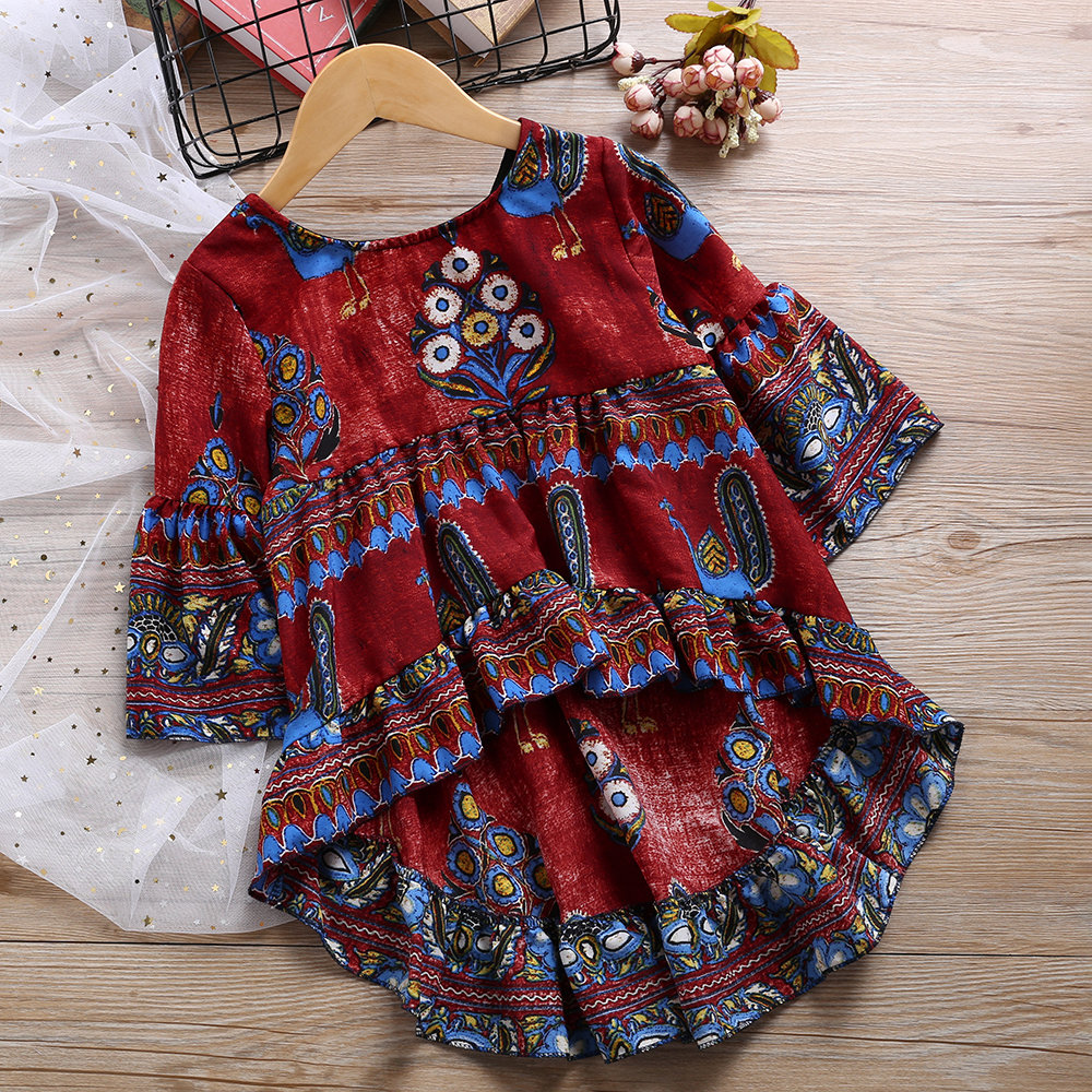 Peacock Pattern Girls Flared Long Sleeve Asymmetrical Princess Dress For 2Y-11Y