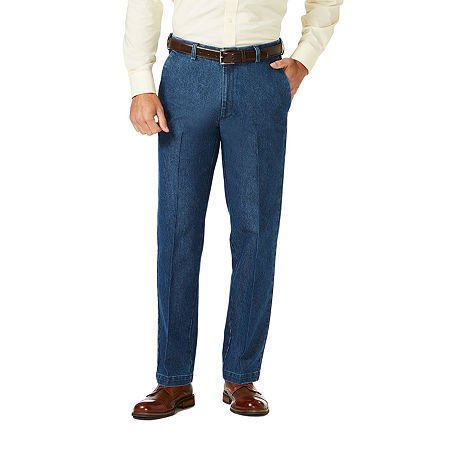 Haggar Premium Stretch Denim Classic Fit Flat Front Pants, 42 30, Blue