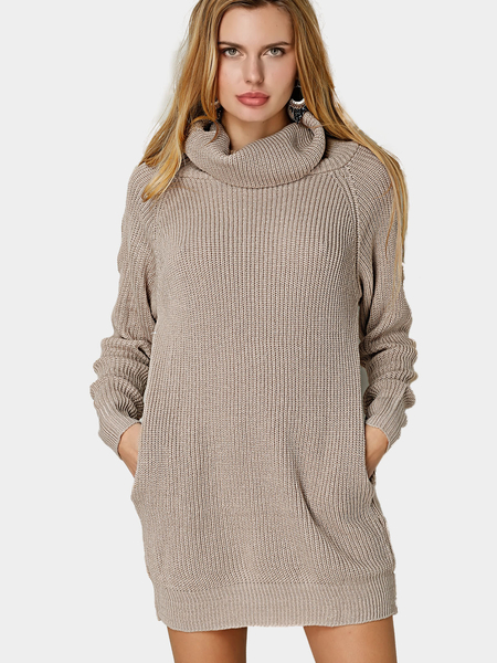 Yoins Apricot Fashion High Neck Sweater With Side Pocket