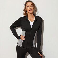 Sports Jacke mit Kontrast Einsatz und Daumenloch