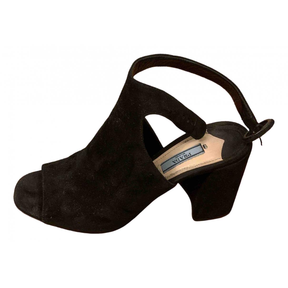 Prada \N Black Suede Sandals for Women 38.5 EU