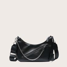 Plain Chain Decor Crossbody Bag