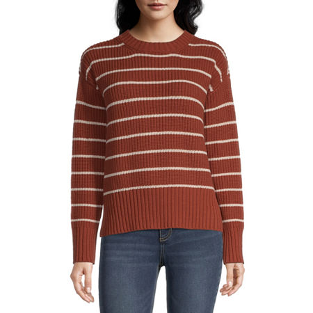 a.n.a Womens Crew Neck Striped Pullover Sweater, Large , Orange