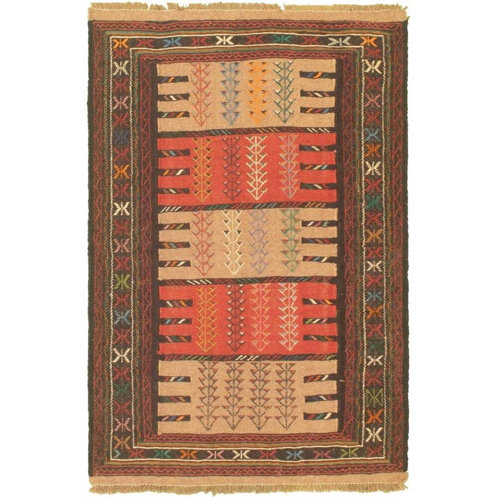 ECARPETGALLERY Flat-weave Ottoman Natura Dark Copper, Tan Wool Kilim - 3'10 x 5'11 (Dark Copper/ Tan - 3'10 x 5'11)