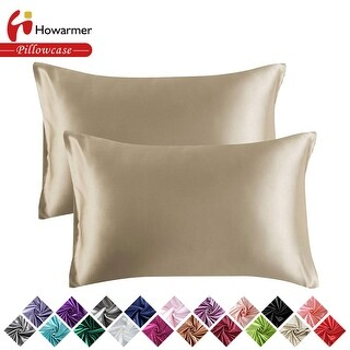 Satin Pillowcase with Envelope Closure, Set of 2 Silk Pillow Covers (King(20