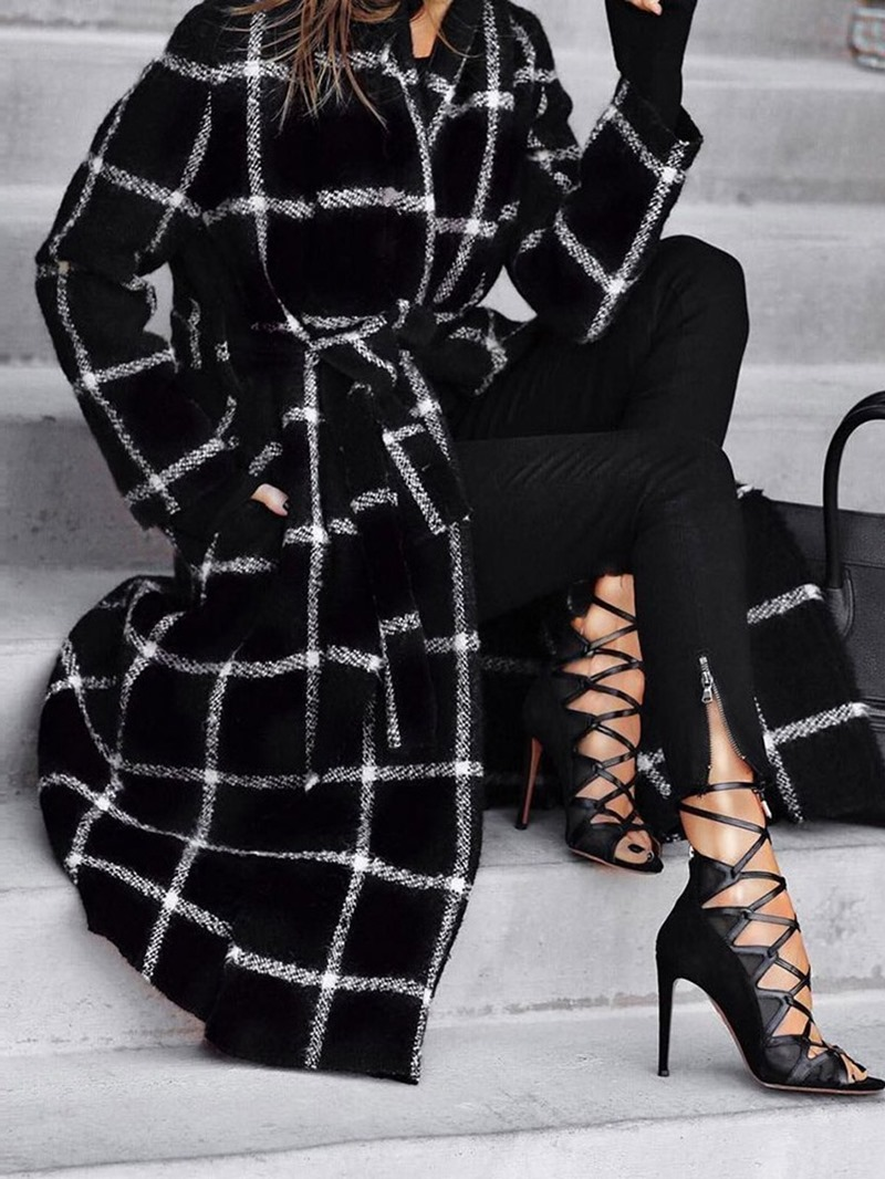 Ericdress Pocket Lace-Up Loose Long Winter Overcoat