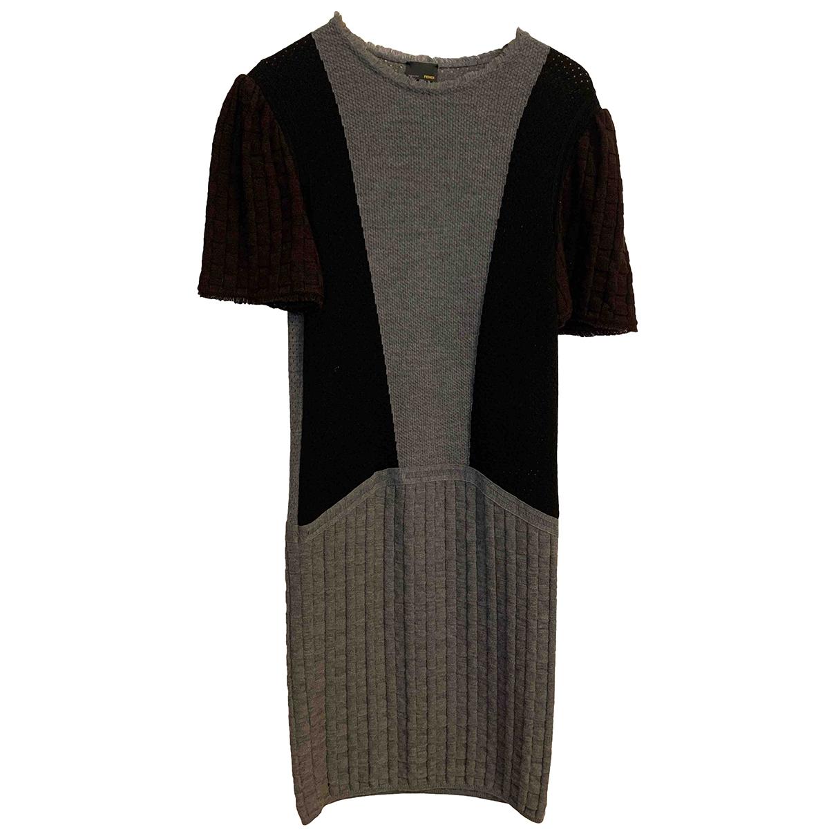 Fendi \N Kleid in  Grau Baumwolle