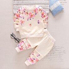 Sudadera con estampado floral con pantalones