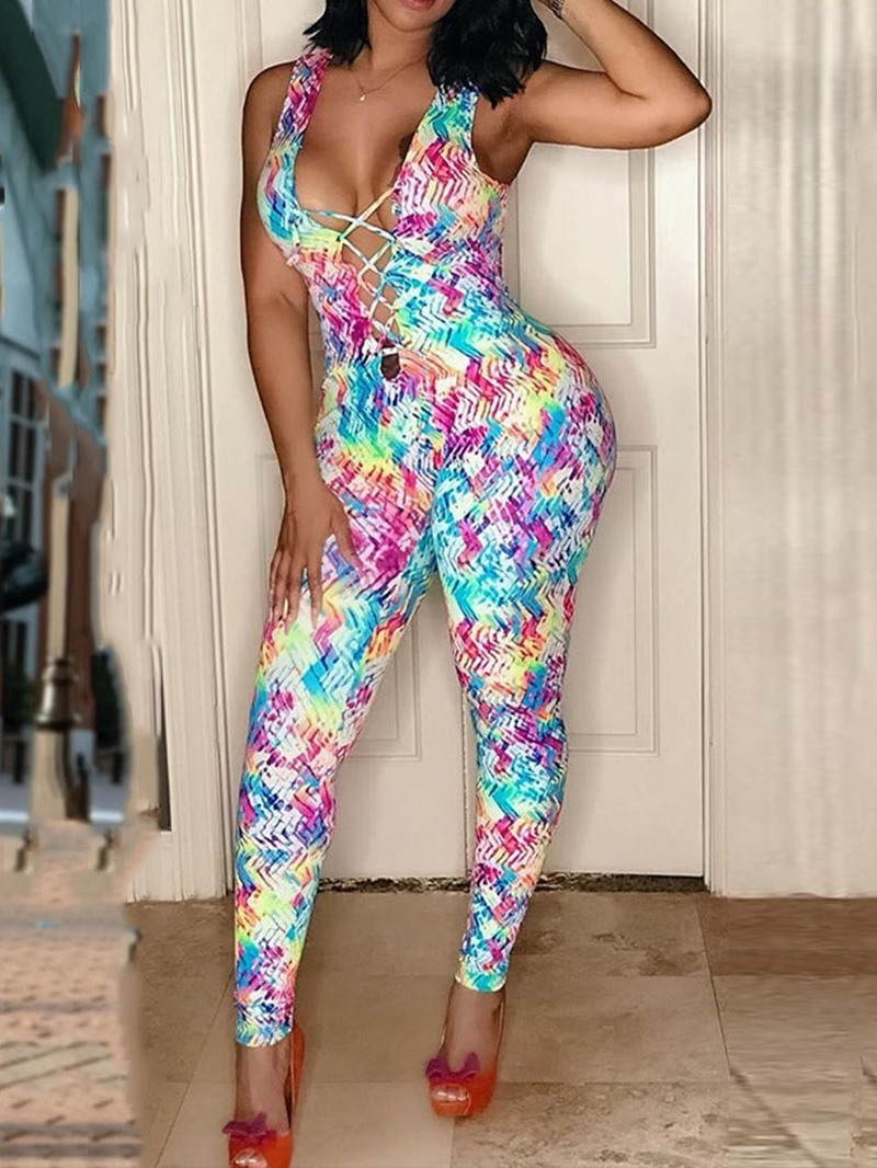 Ericdress Sexy Color Block Slim Pencil Pants Jumpsuit