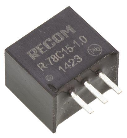 Recom Through Hole Switching Regulator, 15V dc Output Voltage, 18 → 42V dc Input Voltage, 1A Output Current