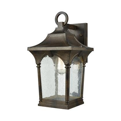45046/1 Loringdale 1-Light Outdoor Wall Sconce in Hazelnut Bronze with Clear Seedy Glass -