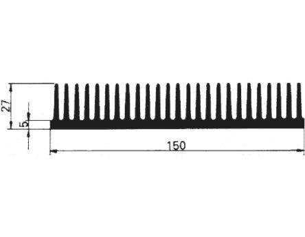 Schaffner Heatsink, Universal Rectangular Alu, 1000 x 150 x 27mm, Black