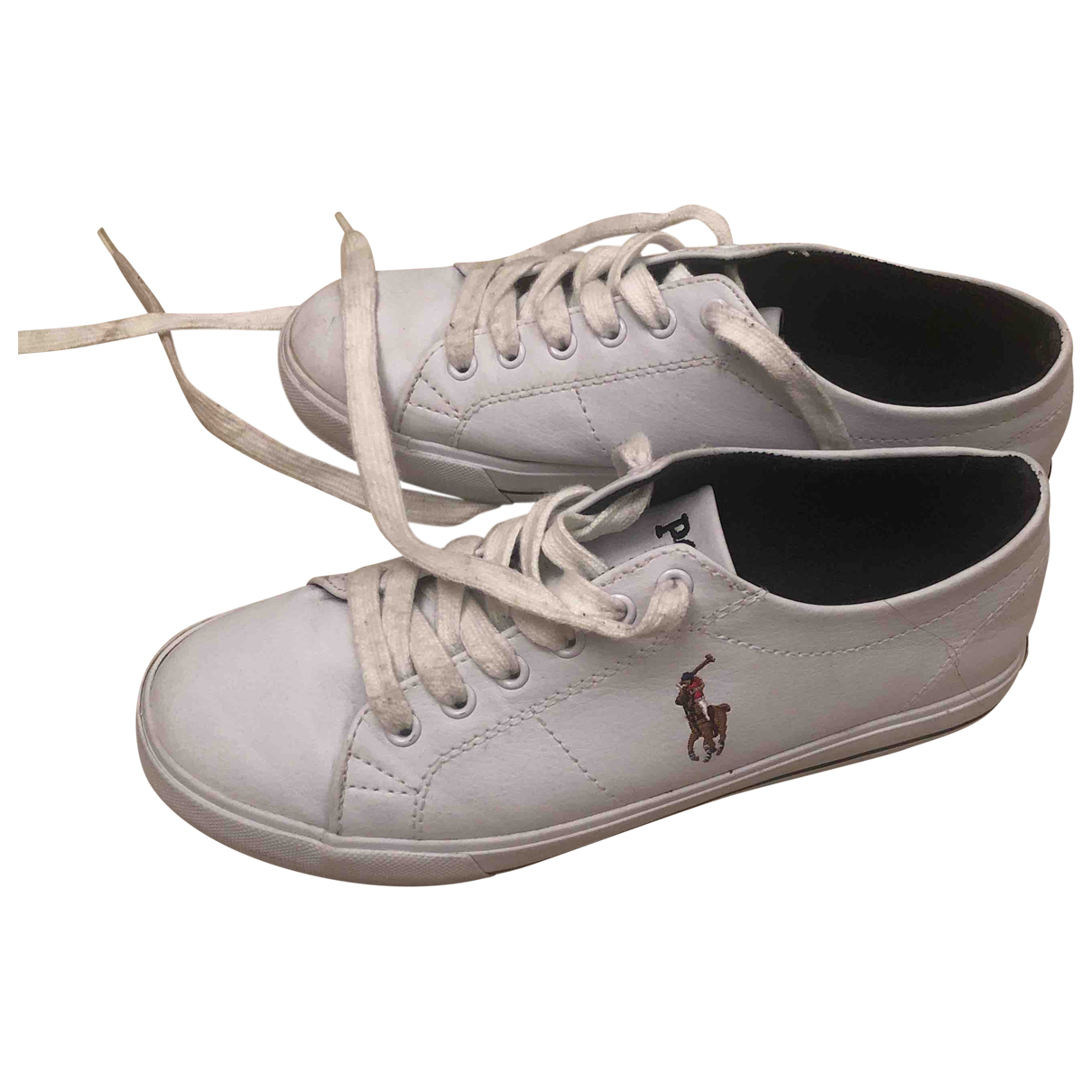 Polo Ralph Lauren N White Leather Trainers for Women 37 EU