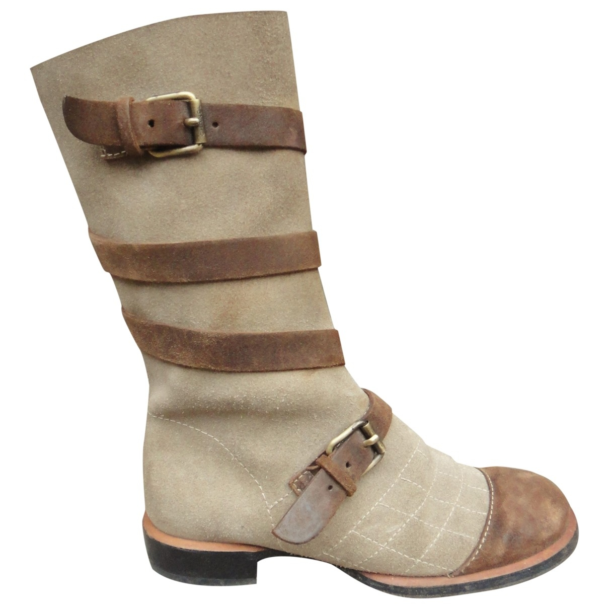 Chanel \N Beige Suede Boots for Women 37.5 EU
