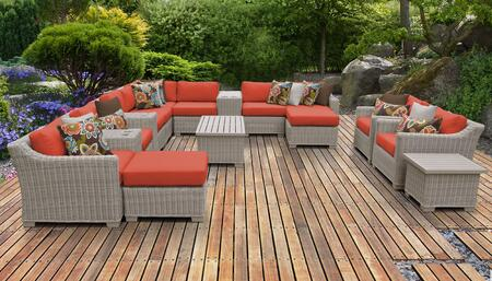 Coast Collection COAST-17a-TANGERINE 17-Piece Patio Set 17a with 1 Corner Chair   5 Armless Chair   2 Ottoman   1 End Table   3 Cup Table   1 Storage