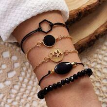 5pcs Heart & Geometric Decor Bracelet