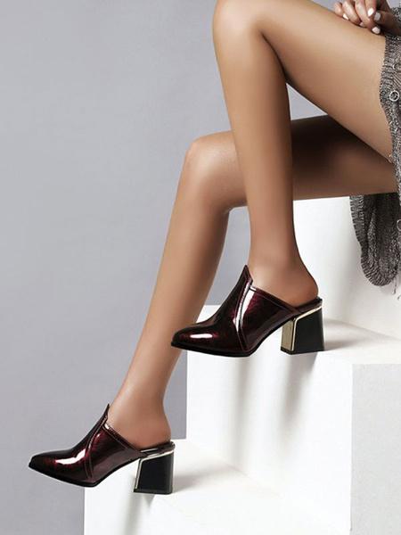 Milanoo Zapatos de mule para mujer Zapatos sin cordones de cuero de punta en punta verde oscuro