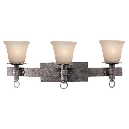 Americana 4203CI/1501 3-Light Bath in Country Iron with Small Faux Calcite Standard Glass