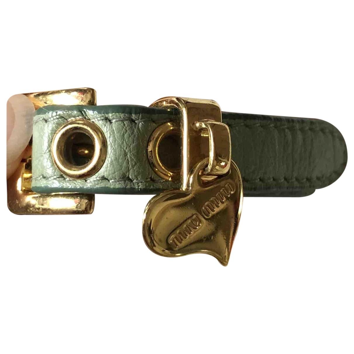 Miu Miu - Bracelet   pour femme en cuir - vert