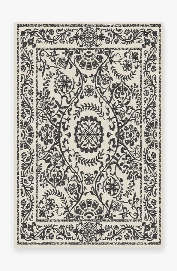 Washable Rug Cover & Pad | Delphina Black & White Rug | Stain-Resistant | Ruggable | 6'x9'