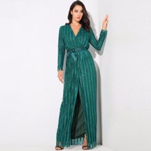 Wrap Belted Sequin Maxi Dress