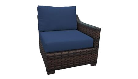 KI043b-LAS-NAVY Kathy Ireland Homes and Gardens River Brook Left Arm Chair - 1 Set of Truffle and 1 Set of Midnight