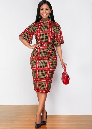 Red Dresses Half Sleeve Plaid Print Mock Neck Dress - M