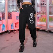 Chinese Dragon Graphic Belted Pants