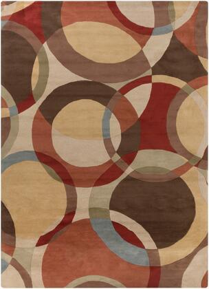 Forum FM-7108 10' x 14' Rectangle Modern Rug in Tan  Dark Brown  Camel  Medium Gray  Olive