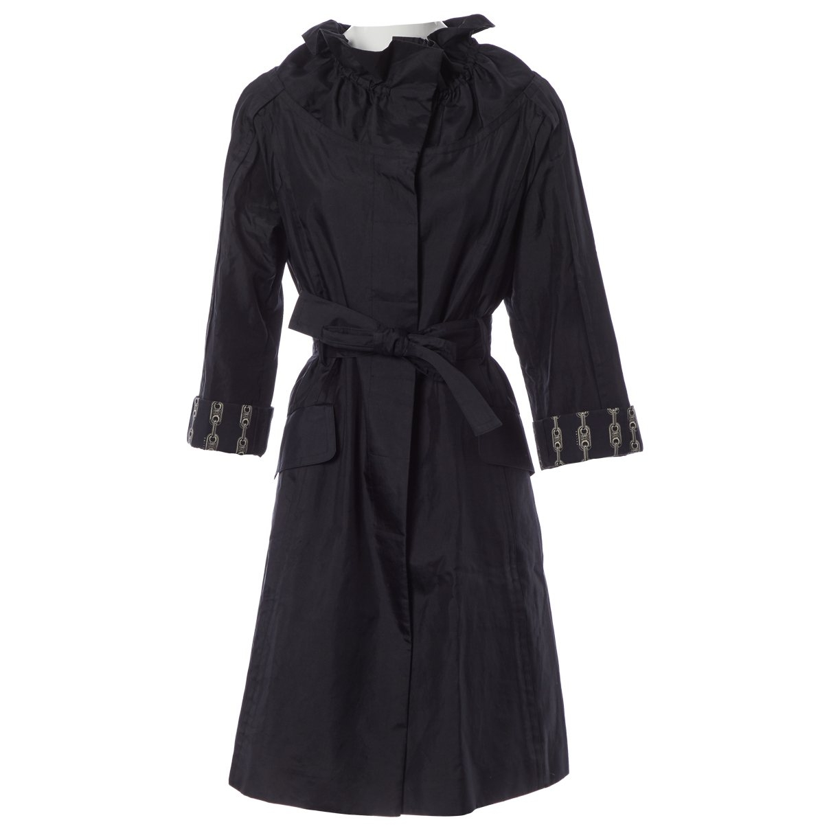 Celine \N Black Cotton Trench coat for Women 42 FR