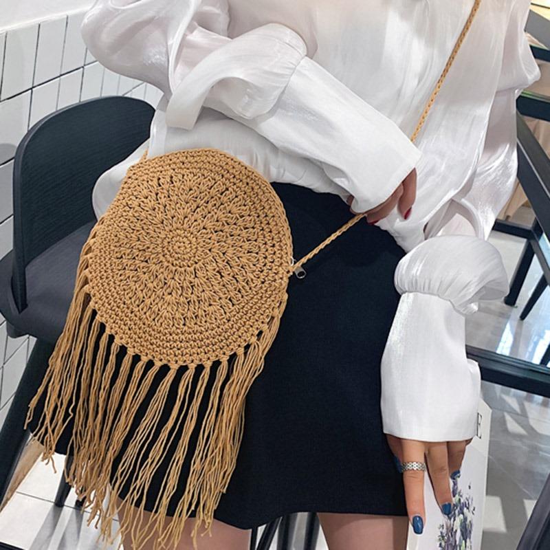 Ericdress Knitted Grass Plain Circular Crossbody Bag