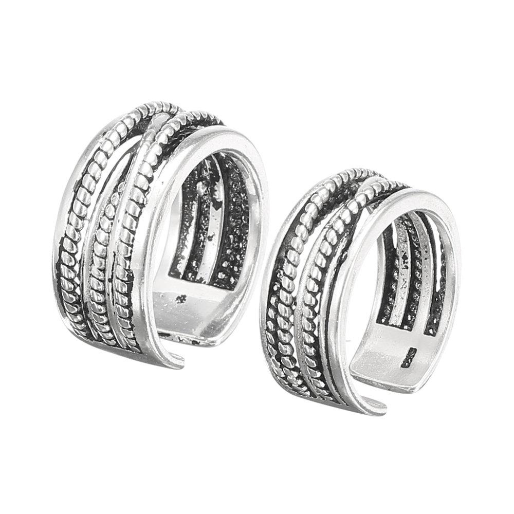 Vintage Twist Antique Silver Ring Adjustable Open-end Finger Ring Jewelry for Men Women